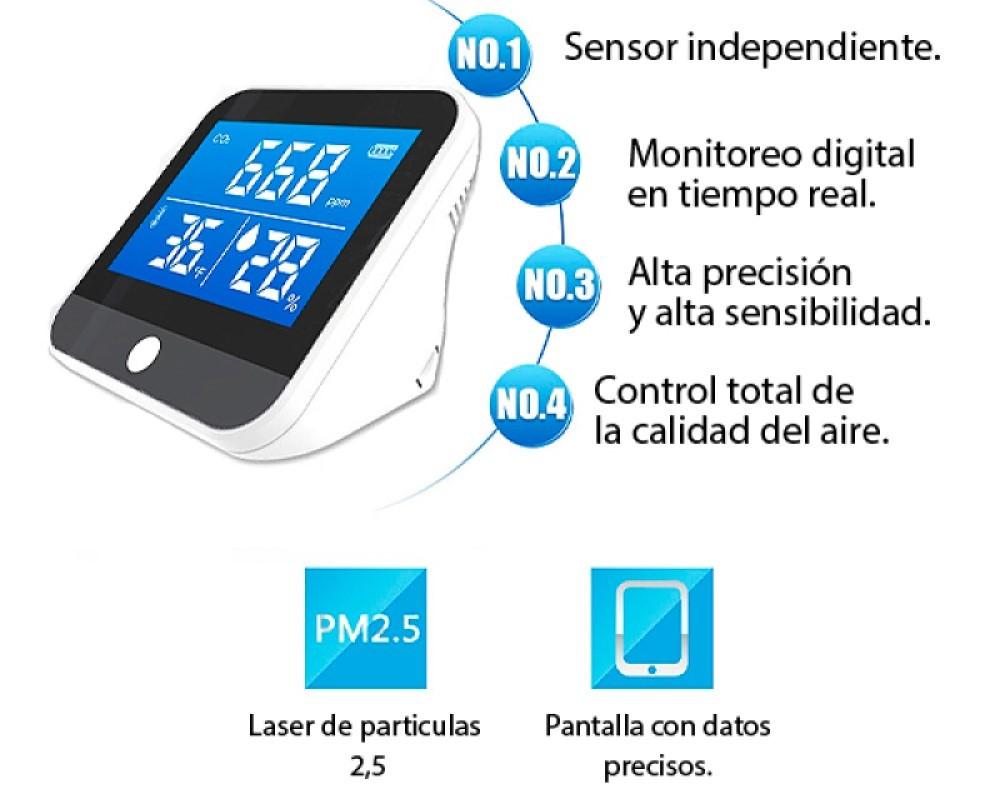 Medidor de calidad del aire CO2 hunedad y temperatura